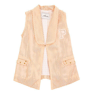 RRP €155 CESARE PACIOTTI 4US Gilet Size M / 8Y PU Leather Laser Cut Studded