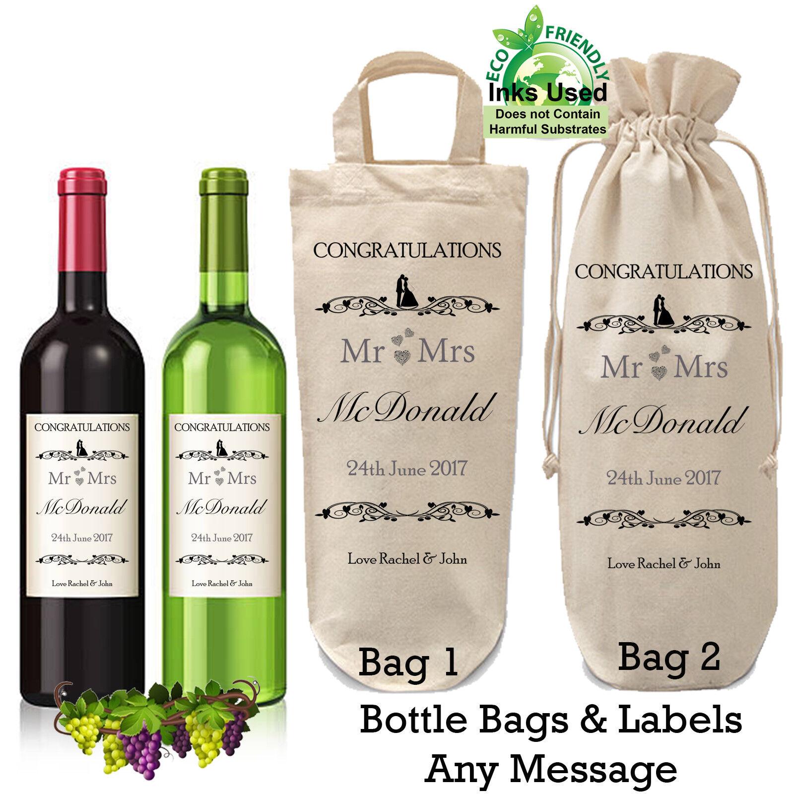 Personnalisé Rose bouteille de vin étiquette mariage idéal anniversaire cadeau de graduation