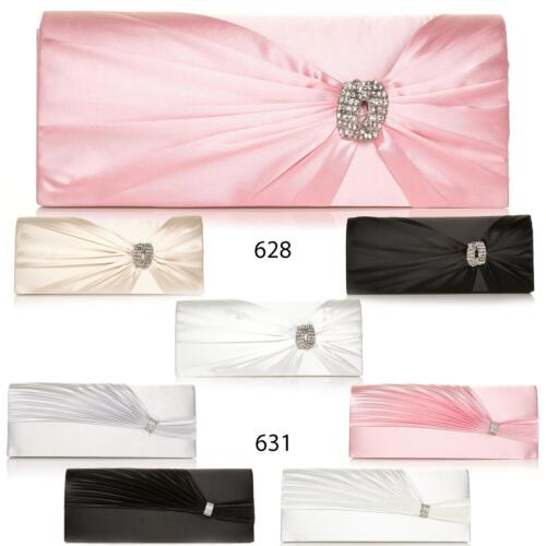 NEW LADIES CLUTCH BAG SATIN COLOURS CREASED PINNED DIAMANTE BRIDAL OCCASION