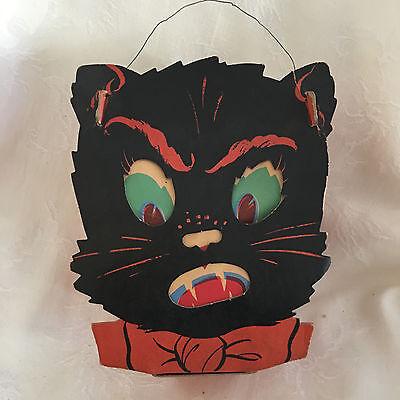 Vintage Halloween Dual Sided Cardboard Black Cat Face Lantern Slot and Tabs