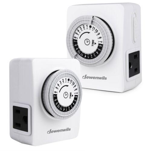 DEWENWILS Indoor Outlet Timer Plug in Light Timer 24-Hour Mechanical  2 Pack