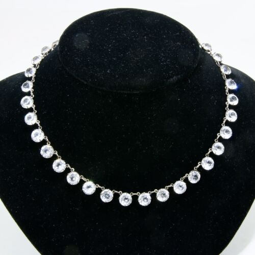 """Art Deco Silver & Crystal Riviere 16"""" Necklace"""