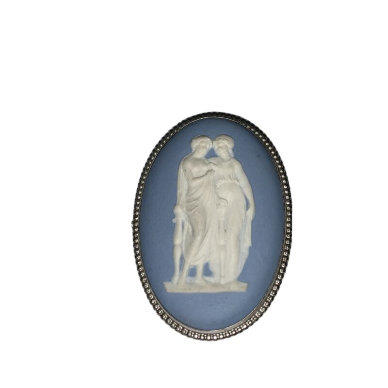 Vintage Cameo Wedgwood Blue Jasperware Cameo Brooch Pin Jewelry Made in England
