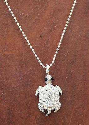 - Austrian Crystal Accent  Silver Sea Turtle Necklace Adjustable 18