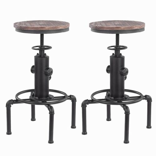 2pcs Bar Stool Industrial Metal Wood Top Adjustable Height Swivel Home Pub Chair