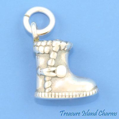 Winter Sheepskin Ugg Boot Shoe 3D .925 Solid Sterling Silver Charm MADE IN USA (Winter Boot Made In Usa)