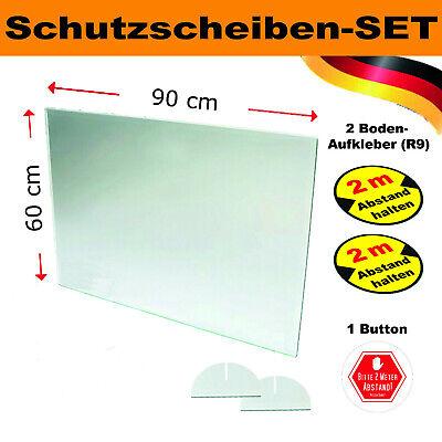 Set Spuckschutz Schutzscheibe Acrylglas 60x90 cm, inkl. Bodenaufkleber