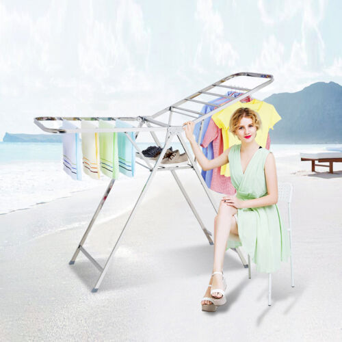 Stainless Steel Portable Clothes Drying Rack Indoor Folding
