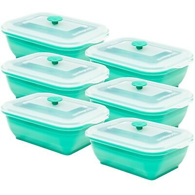 Collapse it Silicone Food Storage Containers 6-Piece Rectangle Set (3 Cups Each) 6 Cup Rectangle Storage