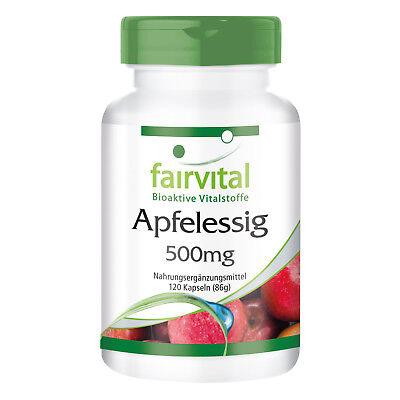 Apfelessig 500 mg - 120 Kapseln   erfrischt und regeneriert   VEGAN   fairvital ()