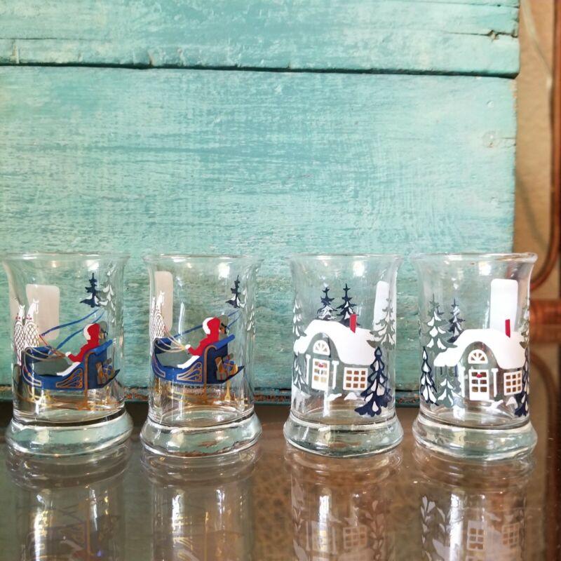 NWT HOLME GAARD CHRISTMAS SHOT DRAM GLASSES -- NEVER USED! Set of 4
