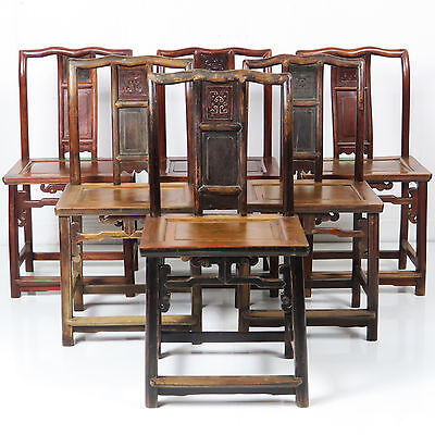 6 Antique Chinese Carved Splat Side Chairs Set Southern Official Hat Chair
