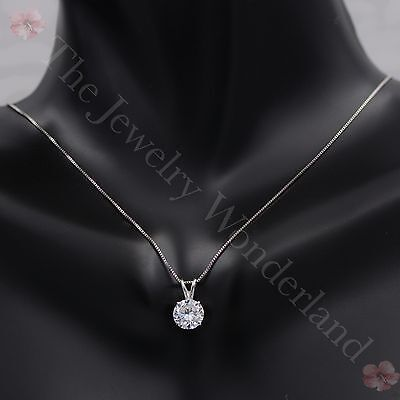 """2.5 CT Round Brilliant Cut Real 14k Solid White Gold Pendant Chain Necklace 16"""""""