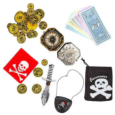 Kids World Book Day Week Pirate Explorer Party Set: Compass Sword Map Eye (World Book Week Kostüm)