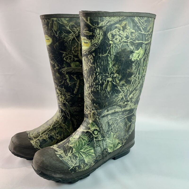 """Cabela's """"Snake Proof"""" Water Proof Hunting/Fishing Camo Rubber Boots Mens Sz 12"""