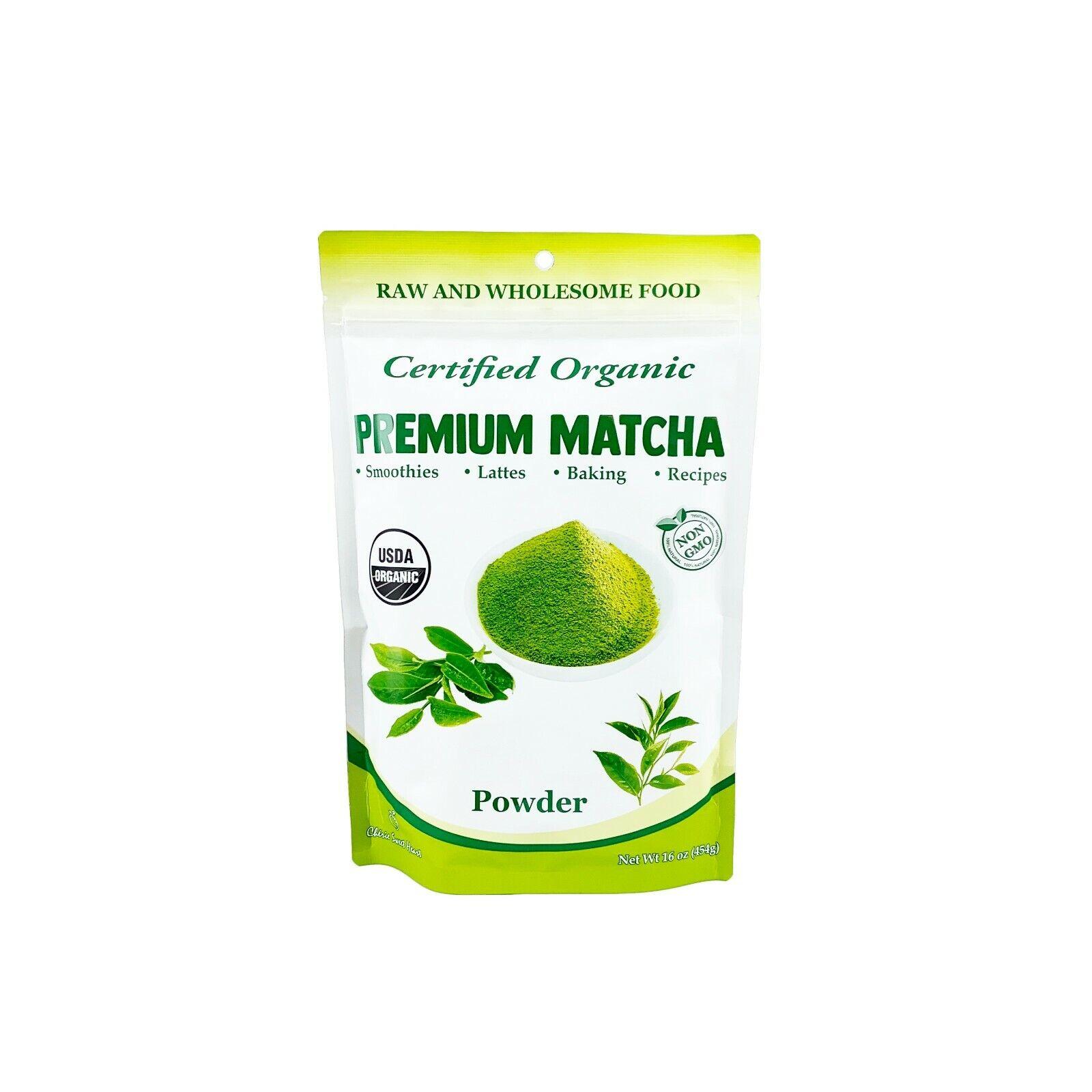 USDA Certified Organic Matcha Green Tea Powder, 1 LB Bag