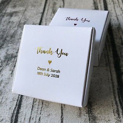 Personalized Wedding Favor Boxes (40x Gold Foil Personalized White Paper box Wedding Favor Boxes Party Gift)