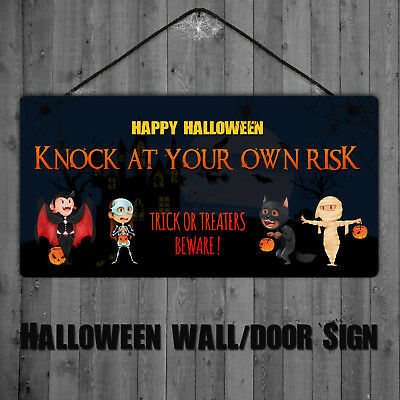 Knock....... Halloween Plaque Trick or Treaters Halloween Door Wall Sign - Halloween Knock Door