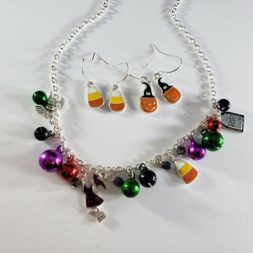 Halloween Silver Tone Necklace Bells Witch Catch Candy Corn Earrings Lot 🎃 FUN