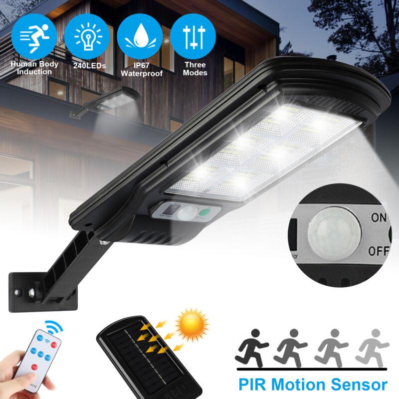 Waterproof Solar 240 LED Street Wall Light PIR Motion Sensor Outdoor Lamp+Remote