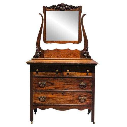 Antique Victorian Farmhouse Carved Oak Mirrored Dresser