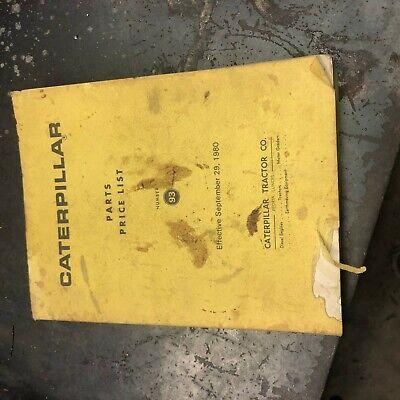 Cat Caterpillar E Price Parts List Book Original Antique 1980