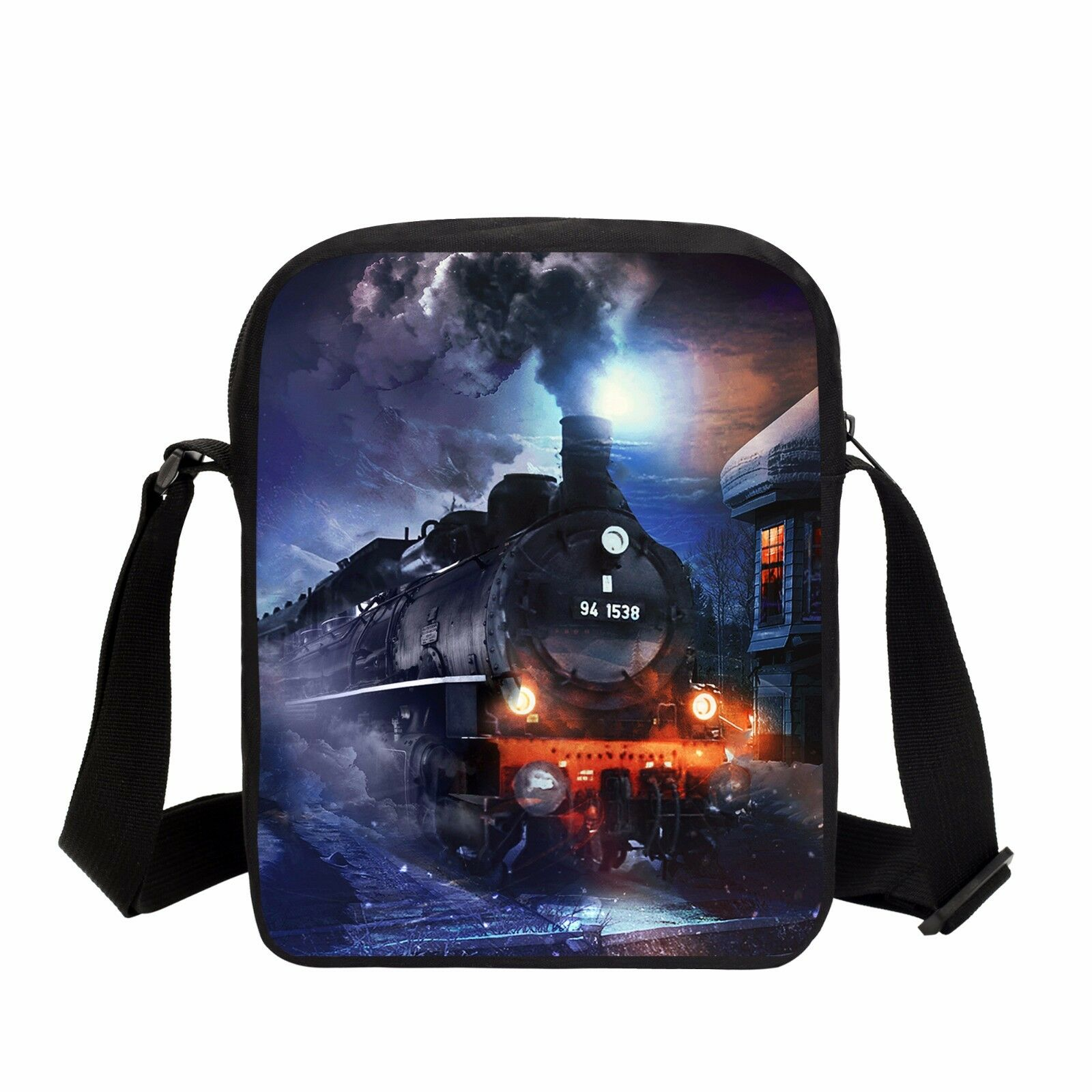 Steam Train Pattern Satchel Boys Messenger Bag Kids Everyday Shoulder Wallet