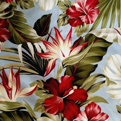 "Vintage Midcentury Textured Cotton Barkcloth Light Blue, Tropical,Palms 54""X54"""
