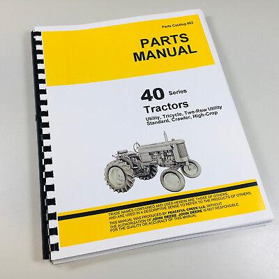 Parts Manual For John Deere 40 Tractors Crawlers Catalog 40c Standard 40t