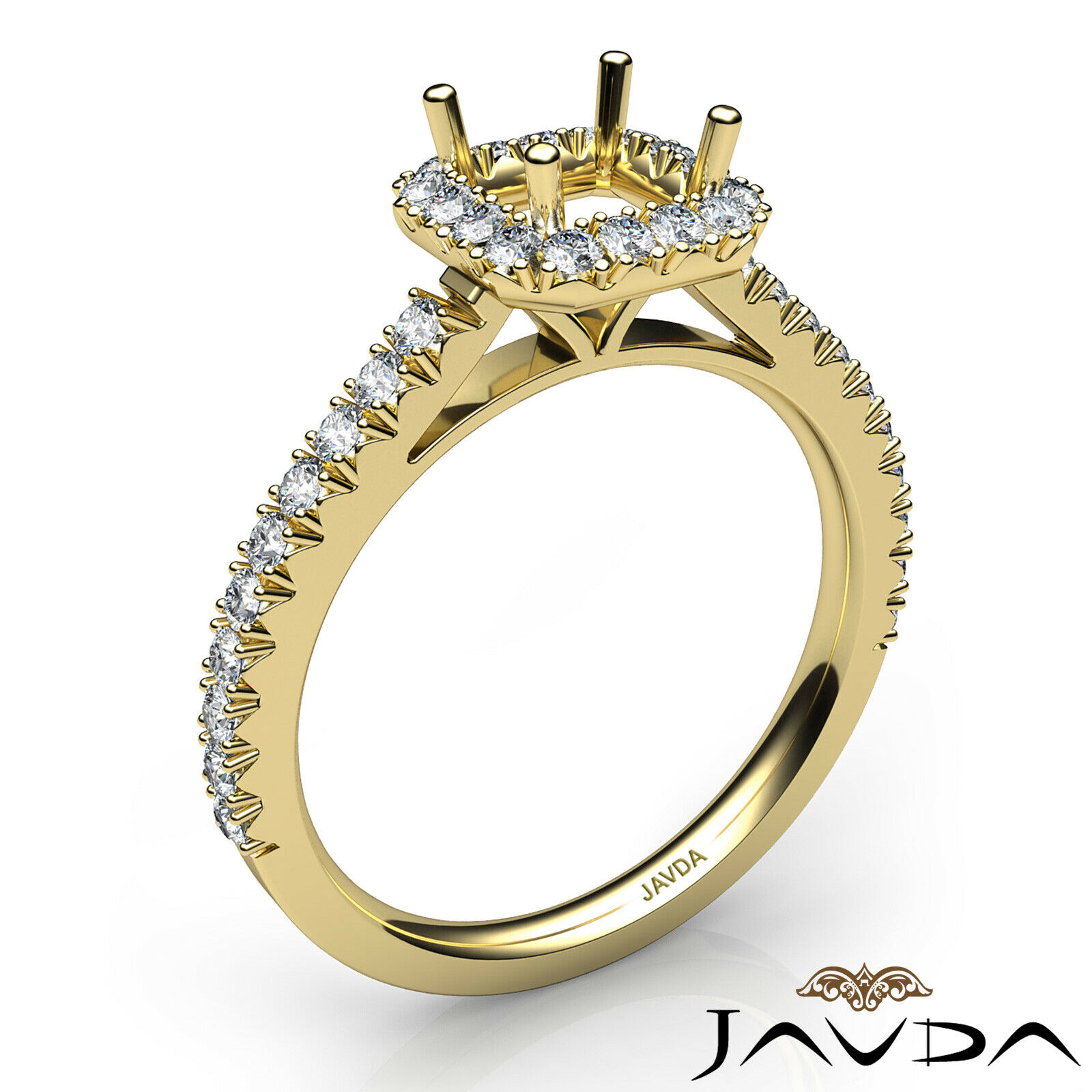French V Cut Pave High Quality Diamond Engagement Asscher Semi Mount Ring 1Ct. - $2,029.00
