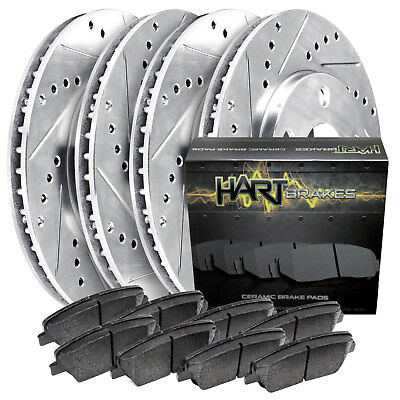 Fits Mitsubishi Diamante Front Rear Drill Slot Brake Rotors+Ceramic Brake Pads