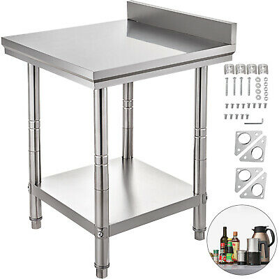 Stainless Steel Work Table Kitchen Utility Bench W Backsplash 24 X 24 18 Gauge