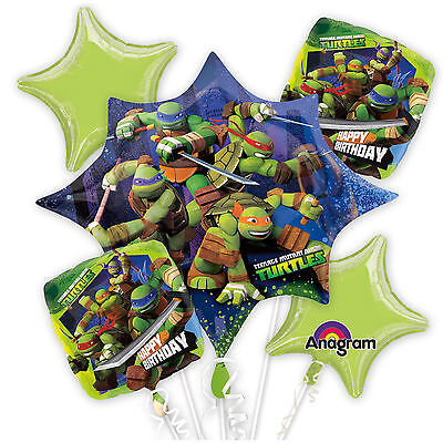 TEENAGE MUTANT NINJA TURTLES BIRTHDAY BALLOONS BOUQUET PARTY SUPPLY FAVORS DECOR](Ninja Turtles Birthday Supplies)