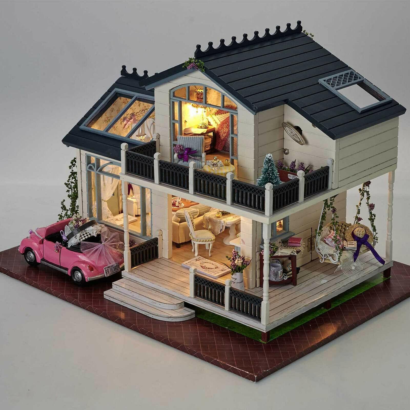 DIY Handcraft Miniature Project Kit My Pink Sweetheart Villa Wooden Dolls House