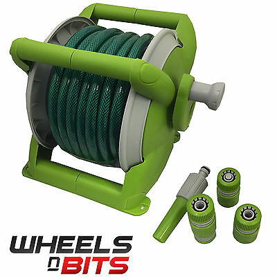 J-home 15M 49FT COMPACT WALL REEL SET GARDEN HOSE PIPE & FITTINGS FREE STANDING