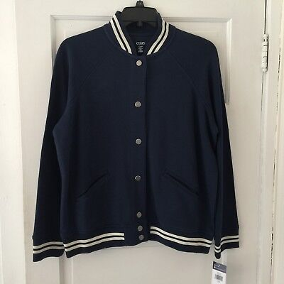 Chaps Women's Baseball Jacket with Snaps Size 1X Blue & White with Pockets