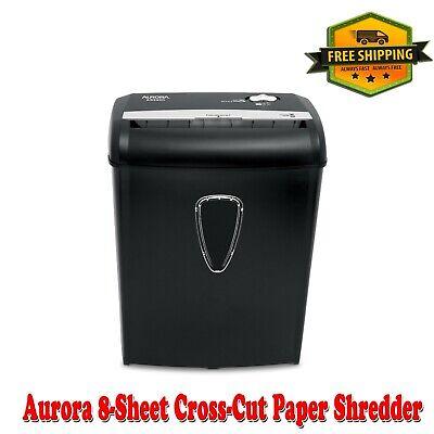 Aurora 8-sheet Cross-cut Paper Shredder Black Integrated 3.6-gallon Wastebasket
