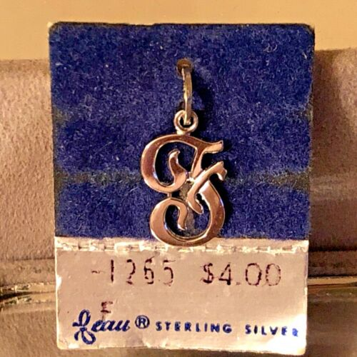 """NEW VTG Sterling Silver Beau Initial """"F"""" Charm Pendant 3/4"""" On original card"""