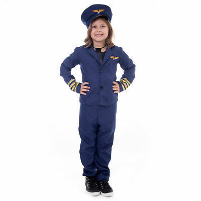 Airline Pilot Halloween Costume | Classic Air Captain Kids Unisex Outfit - Classic Kid Halloween Costumes