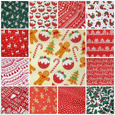 - CHRISTMAS FABRICS inc gingerbread spots stripes polycotton 112cm wide Per metre