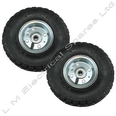 "2 x 10"" Pneumatic Sack Truck Trolley Wheel Barrow Tyre Tyres Wheels 4.10/3.5-4.0"