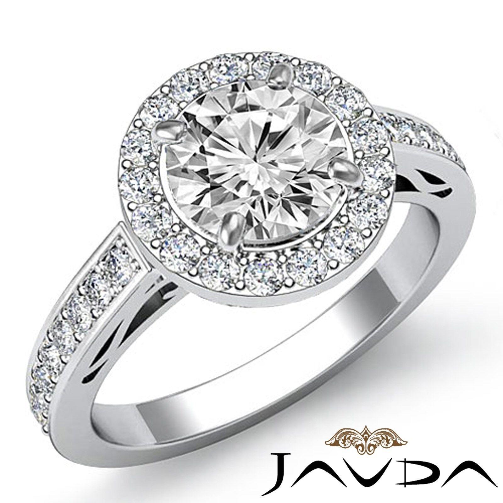 Filigree Design Halo Round Diamond Engagement Micro Pave Ring GIA F VS1 2.3 Ct