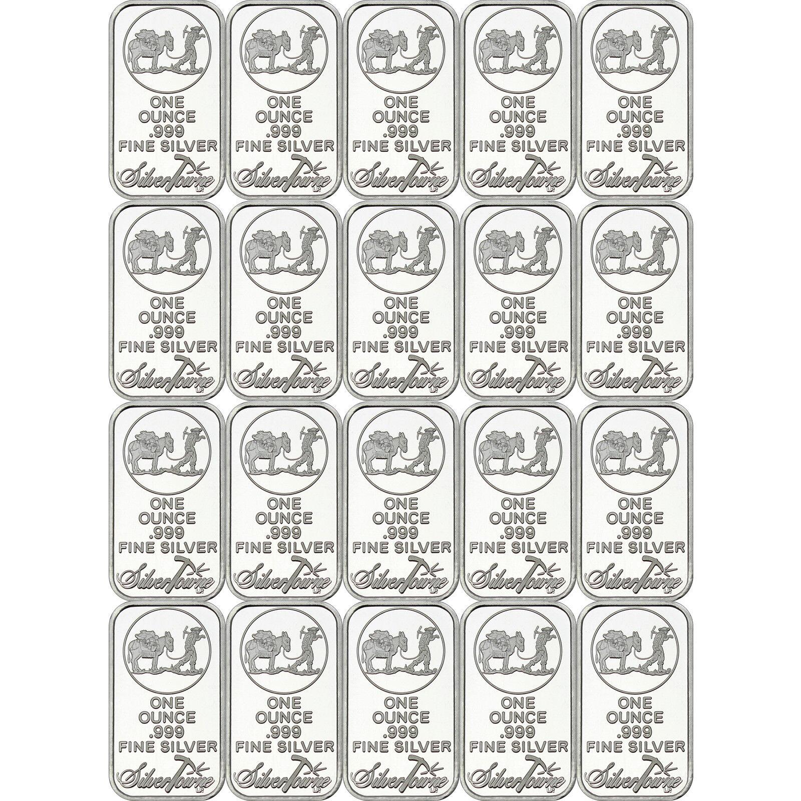 SilverTowne Logo 1oz .999 Fine Silver Bar LOT OF 20