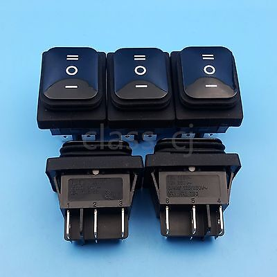 5pcs Black Waterproof Momentary Mom-off-mom 6pin Dpdt 3position Rocker Switch