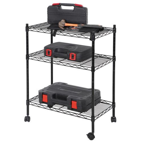 3-Shelf Shelving Storage Unit on 2″ Wheel Caster Metal Organizer Wire Rack Black Home & Garden
