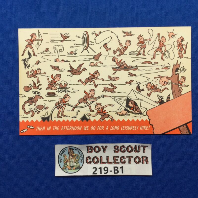 Boy Scout Camp Post Card Then In The Afternoon We Go for a long leisurely hike