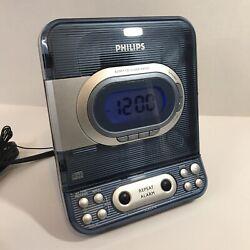 PHILIPS AJ3977 CD player Radio Alarm Clock Combo Unit Clear Blue - W9