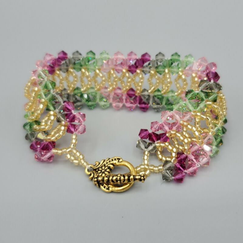 """Pink Green Gradient Woven Bicone Bead Cuff Toggle Bracelet 7"""""""