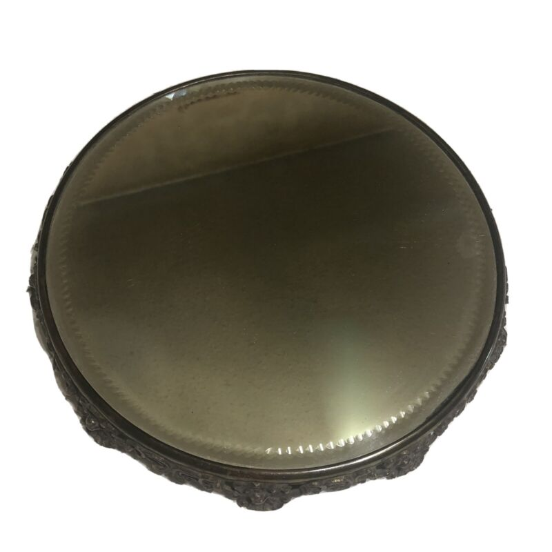 """Vintage Victorian 12"""" Mirror Plateau Brass Copper Vanity Tray Perfume Stand"""