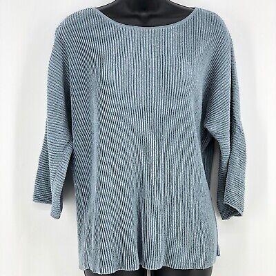 Eileen Fisher Size M Hemp Shimmering Italian Yarn Pullover Metalic Blue Sweater